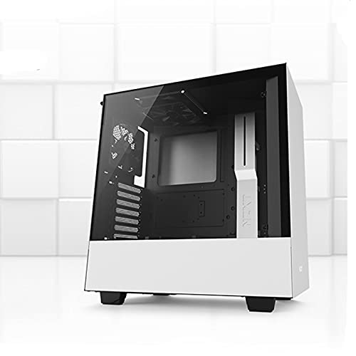 Caja De PC, Caja De Computadora De Torre Media ATX Host De Bricolaje De Escritorio, Panel Lateral De Vidrio Templado, Compatible con Placa Base: Mini-ITX, MicroATX, ATX (Color : White)