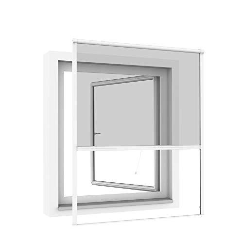 Windhager Rollofenster zum Einhängen, Insektenschutz-Rollo, Fensterrollo als Mückenschutz, Fliegengitter, individuell anpassbar, 130 x 160cm, weiß, 03295