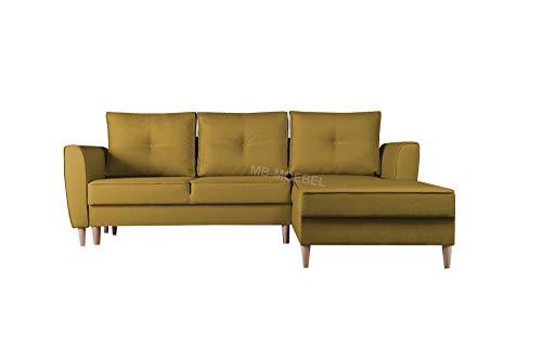 mb-moebel Ecksofa mit Schlaffunktion Eckcouch mit Zwei Bettkasten Sofa Couch Wohnlandschaft L-Form Polsterecke Theo (Malmo 41, Ecksofa Rechts)