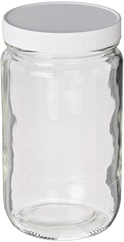 JG Finneran 9-184 Clear Borosilicate Glass Standard Short Straight Sided Wide Mouth Jar with White Polypropylene Closure and 0.015
