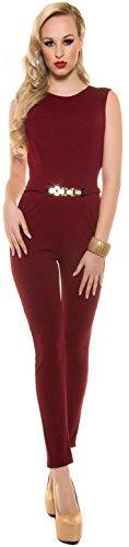 Eleganter KouCla Overall mit Goldschnalle in versch. Farben & Größen - Jumpsuit Rückenfrei (K6721) bordeaux Gr. L