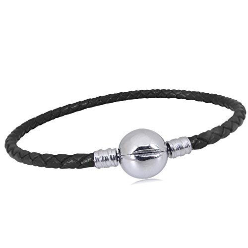 KunBead Leather Chain Bead Charms Bracelets for Jewelry Making for Women Teen Girls 7.4'' with Clip Lock Clasp