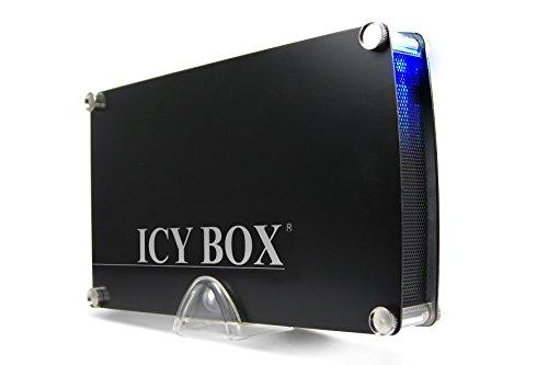 """Icy Box IB-351StU3-B Externes Gehäuse für 3,5"""" (8,9 cm) SATA Festplatte mit USB 3.0 Anschluss, Aluminium, Ein-/Ausschalter, abnehmbarer Standfuß"""
