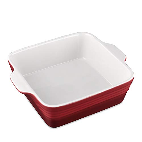 "LOVECASA Stoneware Baking Dish Baking Pan for Casserole Dish, 1.9 Quart Square Brownie Pan with Double Handle, Lasagna Pans Bakeware Set for Cooking, 8""x 8"" x 2.9"