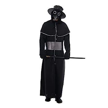 Eraspooky Plague Doctor Costume Men Halloween Party Warlock Coat Steampunk Medieval Suits with Hat
