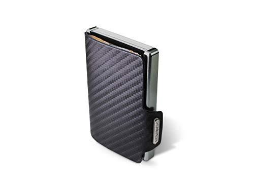 Mondraghi® Portafoglio RACING CARBON | Protezione RFID integrata nella clip portabanconote'Stop and Go' | Scocca in alluminio | Miniwallet in pelle