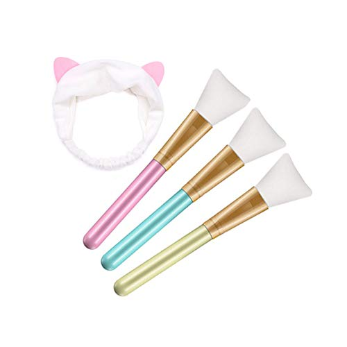 Maskenpinsel Silikon mit Haarbänd, AOBETAK Haarloser Gesichtsmask Pinsel Set, Kosmetik Make-up Gesicht Bürste für Gesichtsmasken, Augenmasken, Serum oder DIY