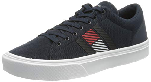 Tommy Hilfiger Lightweight Stripes Knit Sneaker, Zapatillas DE Punto Ligero Hombre, Cielo del Desierto, 44 EU