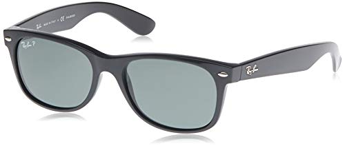 Ray-Ban RB2132 New Wayfarer Polarized Sunglasses, Black/Polarized Green, 55 mm