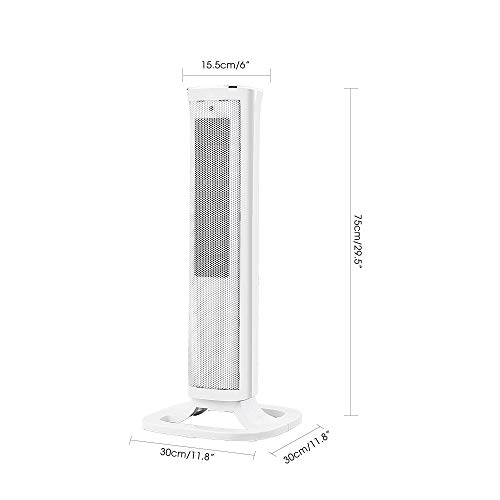 318wa9kVRRL. SS500  - Oscillating White Tower Fan Heater -2000W Ceramic PTC - Thermostat, 3 gears adjustable, LED Display, Portable Design…