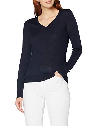 MERAKI Amazon Brand - Suéter de Lana Merino con Cuello en V para Mujer, Azul, Azul Marino, (Blue Azul, Azul Marino, (Navy)), Small/US 4-6