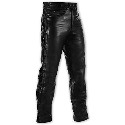 A-pro leren broek motorfiets unisex klassieke jeans gesneden Custom zwart 36