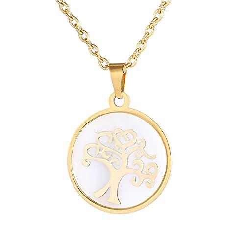 Collar de acero inoxidable pequeño redondo de la vida del árbol de moda colores oro / acero Bijoux Collier elegante joyería de mujer regalos-oro-B_50CM