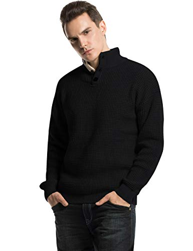Lynz Pure Men's Turtleneck Sweater Button Up Polo Cable Knit Sweater Pullover Tops Black L