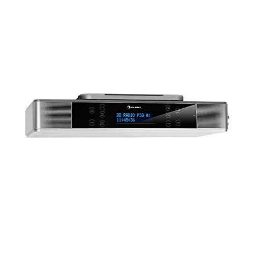 auna KR-140 Bluetooth-Küchenradio - Unterbau-Radio, DAB+/UKW Küchenradio, Freisprechfunktion, DAB+/FM, LED-Arbeitsflächen-Beleuchtung, Touch-Display, Silber