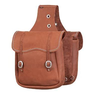 Weaver Chap Leather Saddle Bag with Spots Brown
