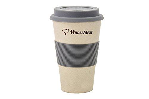 Magu Bambus Coffee2go Becher Beige 0,333l mit Sikokondeckel inkl. Gravur | Wunschmotiv & Text