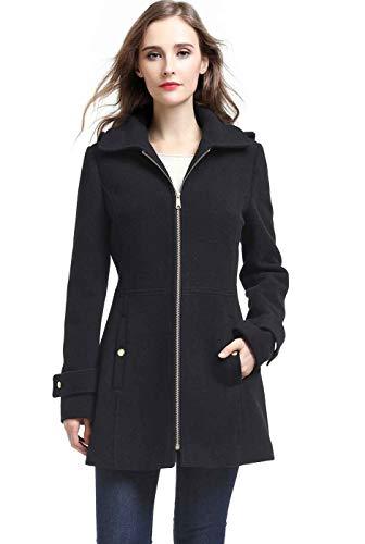 BGSD Women's Lina Wool Blend Hooded Parka Coat, Black, Plus Size 0X, XX-Large