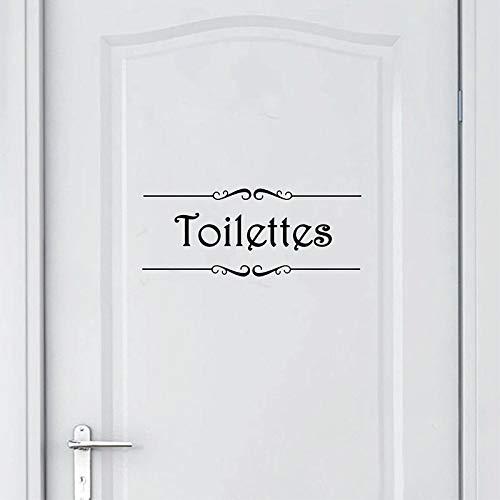 GVC Porte Salle de Bain et Toilettes Etiqueta de la Pared Baño francés Inodoro Puerta Papel Pintado Mural Calcomanías Vinilo Etiqueta de la Pared Decoración para el hogar