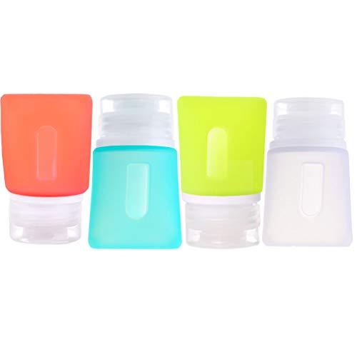 JasCherry Mini Silikon Reiseflaschen Set mit Tasche de Speichern - 4 Stück Reisen Flaschen für Shampoo/Spülung/Duschgel/Cremes - BPA-frei und TSA genehmigt, Kein Auslaufen (37ml)