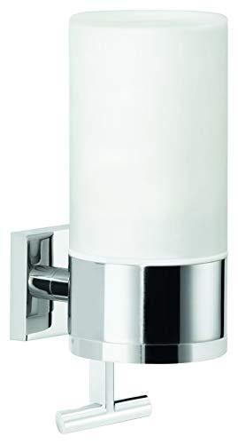tesa DELUXXE Seifenspender Wandhalterung, Metall, verchromt, Milchglas, Klebelösung, fasst 230ml, starker Halt, 192mm x 73mm x 115mm