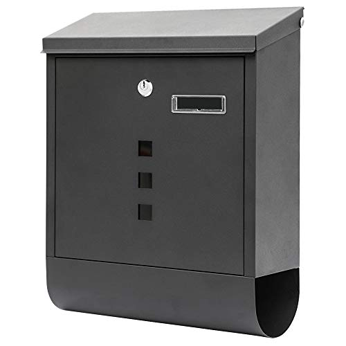 KYODOLED Locking Mailbox Wall Mounted,Locked Mailboxes for Outside,Mail Box with Key Lock,Large Capacity Mailbox with Newspaper Compartment,15.3 x 12 x 4.7 Inch, Black