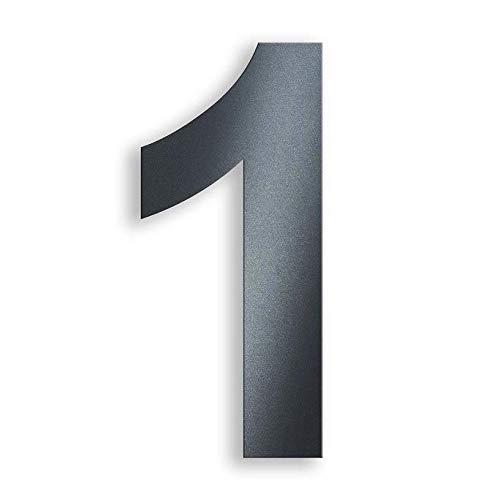 Metzler Hausnummer in Anthrazit - RAL 7016 Anthrazitgrau Feinstruktur Pulverbeschichtet – selbstklebend - Schrift Arial – massiver Stahl – Höhe 7,5 cm – Ziffer 1