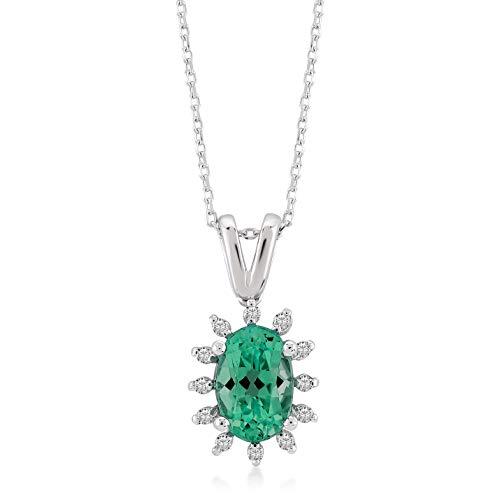 Gelin Damesketting van 14 karaat 585 echt witgoud smaragd hanger met 0,03 ct diamant ketting 45 cm
