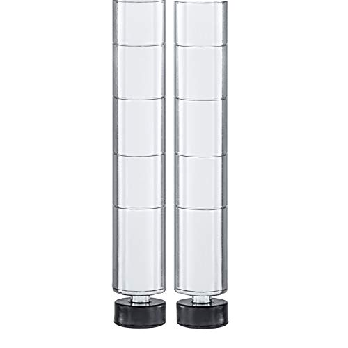 "Seville Classics UltraDurable Commercial-Grade Steel Shelving Poles, 72"" H x 1"" Diameter, Chrome, Set of 2"