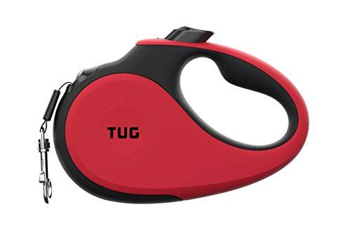 TUG 360° Sin Enredos Correa de Perro Retráctil/Extensible Cinta de Nailon de 5 Metros (Medio, Rojo)