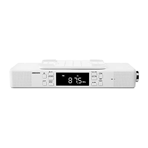 MEDION E66550 Küchen Unterbauradio mit Bluetooth-Funktion (PLL UKW Radio, Freisprechfunktion, 2 x 2,7 W RMS, Timerfunktion, LED-Display) weiß