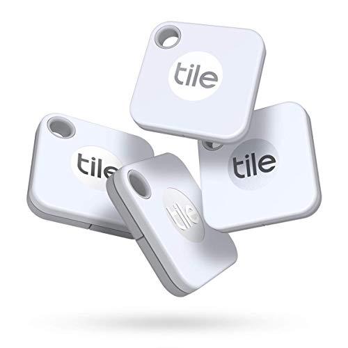 Tile Mate (2020) buscador de objetos Bluetooth, Pack de 4, blanco. Radio búsqueda 60m, batería 1 año sustituible, compatible con Alexa, Google Smart Home, iOS, Android. Busca llaves, mandos y más