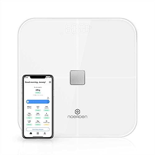 NOERDEN - Báscula Inteligente SENSORI - Báscula de Peso Corporal - Tecnología Step-On, Wi-Fi/Bluetooth, Pantalla LED y Vidrio Templado - Analiza Datos Corporales y de Ritmo Cardíaco - Blanco