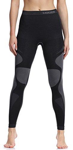 Ladeheid Damen Funktionsunterwäsche Lange Unterhose Thermoaktiv (Schwarz/Grau, XL)