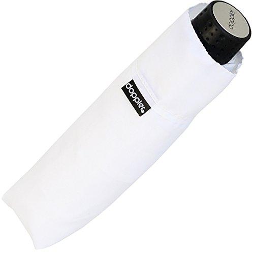 Doppler Regenschirm Mini- Taschenschirm Havanna Stick - sturmfest Uni weiß