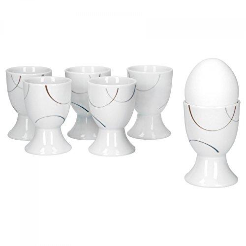 Van Well Salerno Lot de 6 Coquetiers, rond Ø 4,8 cm, H 7 cm, demi-cercle Décor, élégant Porcelaine de Marques