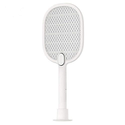 Wghz Scacciamosche Elettrico Scacciamosche Elettrico Scacciamosche Scacciamosche Ricaricabile LED Insetto Elettrico Insetto Volare Mosquito Killer Racchetta Rete a 3 Strati, Bianco