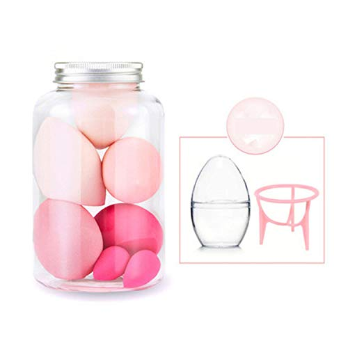 leaf-only Organisateurs Et Cosmétiques De Stockage, 7PCS Pro Foundation Sponge Powder Puff Cosmetic Smooth Cream Blending Multi Shape Face Beauty Makeup Tool Set with Bottle-Plum-