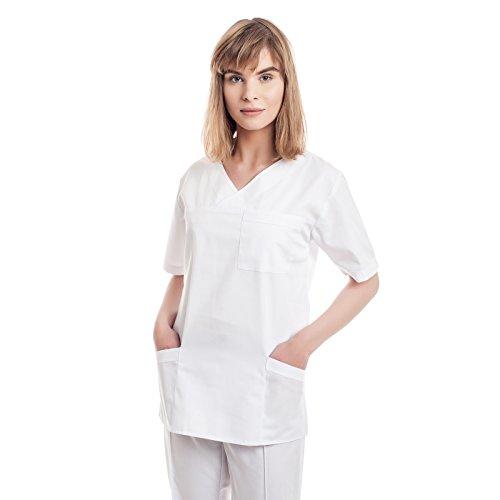 Weiß Kasacks Damen Pflege - 7 Berufsbekleidung Pflegegrößen (XS-3XL), Perfekt Als Krankenschwester Berufskleidung Kittel, Medizin Kleidung, Altenpflege Uniform, Krankenhaus Schlupfjacke, Kassak