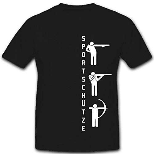Sportschützen Pistole Gewehr Bogen Pfeil Schießsport Luftgewehr - T Shirt #4269, Größe:M, Farbe:Schwarz