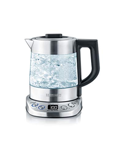 SEVERIN WK 3473 Hervidor de té/agua, 2200 W, 1 Litro, Vidrio/Acero Inoxidable-Cepillado/Negro