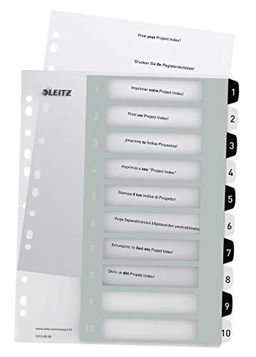 Leitz Register für A4, PC-beschriftbares Deckblatt und 10 Trennblätter, Taben mit Zahlenaufdruck 1-10, Überbreite, Weiß/Schwarz, Polypropylen, WOW, 12150000