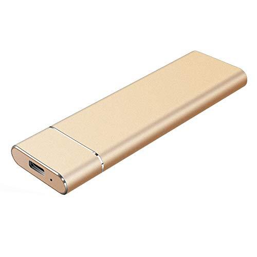 Externe Festplatte 2tb,Type C USB 3.1 Tragbare Festplatte extern für PC, Mac, Desktop, Laptop, MacBook, Chromebook (2tb, Gold)
