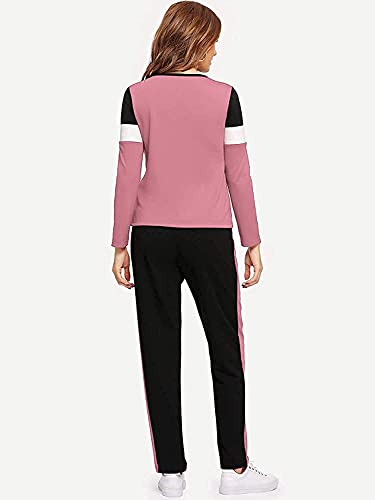 DIVUE Women's Solid Stripes Track Suit | Women's Tiger Striped Tracksuit Top & Leggings Pants Outfit Set for Girls Women's Yoga Track Pants,Joggers, Gym, Active Lower Wear (LIGHT PINK, LARGE)