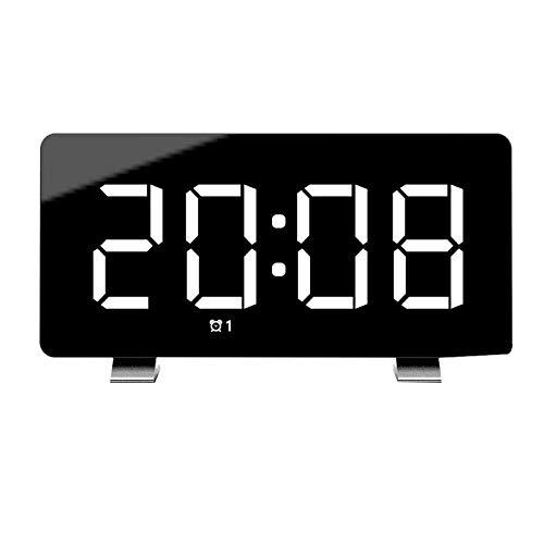 JZUO Digitaler Wecker 7,3-Zoll-LED-Bildschirm mit Snooze-Einstellung 0 100 Helligkeit Lautstärke Dimmbar Einfach