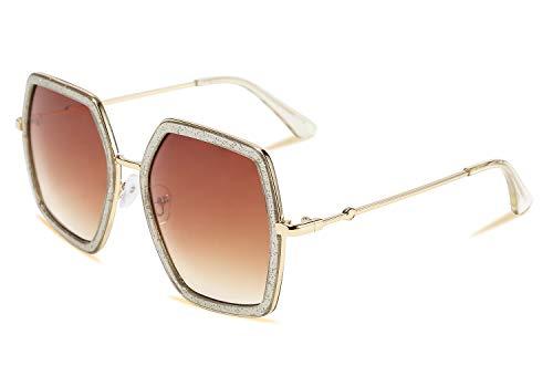 FEISEDY Gafas de sol geométricas para mujer Moda para mujer Estilo de diseñador inspirado en hexágono grande irregular B2503