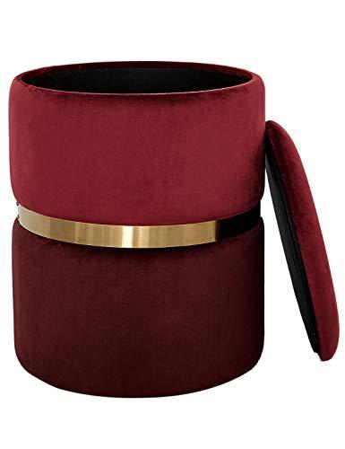 Taburete Redondo Caja de Almacenamiento Reposapiés Sofá con Tapa Baúl Puff Otomana Tapizado Asiento Moderno Tocador de Dorada para Dormitorio y Salón Terciopelo y Metall Rojo