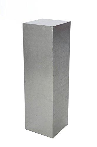 VIVANNO Podest Säule Blumensäule Dekosäule Blumenständer Fiberglas Silber - 100x30x30 cm