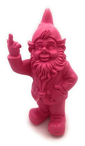 Gartenzwerg, Deko-Figur frecher Gartenzwerg zeigt Stinkefinger aus Kunstharz für Garten und Haus (Pink)