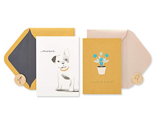 Papyrus Thank You Cards with Envelopes, Frenchie Dog and Daisies (2-Count)